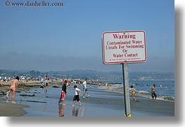 beaches, california, capitola, emotions, horizontal, humor, irony, people, signs, unsafe, water, west coast, western usa, photograph