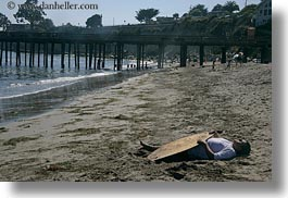 california, capitola, dead, horizontal, people, surfers, west coast, western usa, photograph