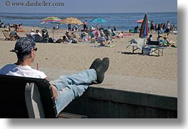 bandana, beaches, california, capitola, crowded, horizontal, looking, men, people, west coast, western usa, photograph