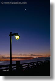 california, capitola, dusk, lamps, vertical, west coast, western usa, wharf, photograph