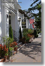 amercian, california, carmel, cypress, flags, houses, inn, vertical, west coast, western usa, photograph