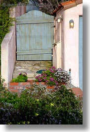 california, carmel, flowers, gates, houses, vertical, west coast, western usa, photograph