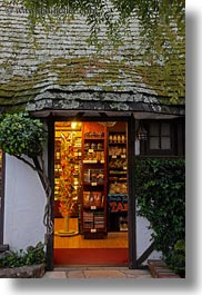 california, carmel, glowing, houses, shops, vertical, west coast, western usa, photograph