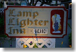 california, carmel, horizontal, houses, inn, lamps, lighter, signs, west coast, western usa, photograph