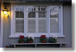 california, carmel, flowers, horizontal, houses, shutters, west coast, western usa, windows, photograph