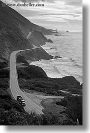 black and white, california, coast, coastal views, coastline, highways, rockies, vertical, west coast, western usa, photograph