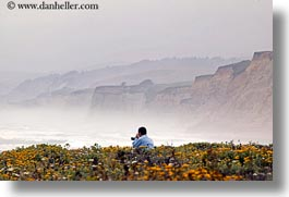 california, cliffs, coastal views, flowers, horizontal, people, west coast, western usa, photograph