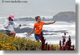 california, childrens, coastal views, flowers, horizontal, people, west coast, western usa, photograph