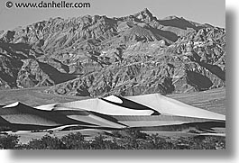 black and white, california, death valley, dunes, horizontal, mountains, national parks, west coast, western usa, photograph
