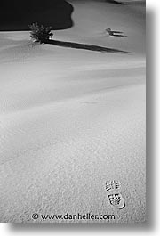 black and white, california, death valley, dunes, footprints, national parks, sand, vertical, west coast, western usa, photograph