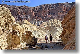 california, canyons, death valley, golden, golden canyon, horizontal, national parks, walk, west coast, western usa, photograph