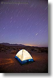 california, death valley, long exposure, national parks, nite, star trails, stars, tents, trails, vertical, west coast, western usa, photograph