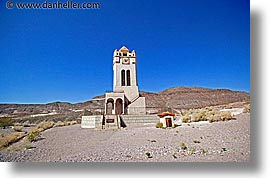 california, clocks, death valley, exteriors, horizontal, national parks, scotty's castle, scottys castle, towers, west coast, western usa, photograph