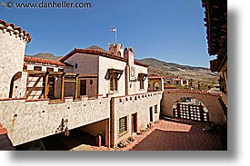 california, courtyard, death valley, exteriors, horizontal, national parks, scotty's castle, scottys castle, west coast, western usa, photograph