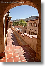 balconies, california, death valley, exteriors, national parks, scotty's castle, scottys castle, vertical, west coast, western usa, photograph