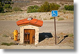 california, death valley, exteriors, handicap, horizontal, national parks, scotty's castle, scottys castle, signs, west coast, western usa, photograph