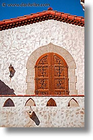 california, death valley, doors, exteriors, national parks, round, scotty's castle, scottys castle, tops, vertical, west coast, western usa, photograph