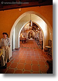 archways, california, death valley, hallway, interiors, national parks, scotty's castle, scottys castle, vertical, west coast, western usa, photograph