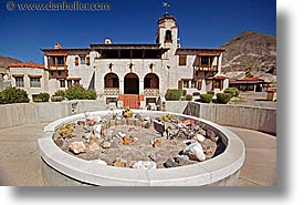 california, death valley, gardens, horizontal, main view, national parks, rocks, scotty's castle, scottys castle, west coast, western usa, photograph