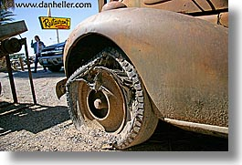 antiques, california, cars, death valley, flats, horizontal, national parks, shoshone, tires, west coast, western usa, photograph