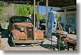 antiques, california, cars, death valley, gas, horizontal, national parks, shoshone, west coast, western usa, photograph