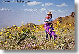 california, death valley, horizontal, jack and jill, landscapes, mothers, national parks, people, west coast, western usa, wildflowers, womens, photograph
