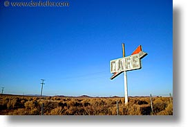 cafes, california, highways, horizontal, signs, west coast, western usa, photograph