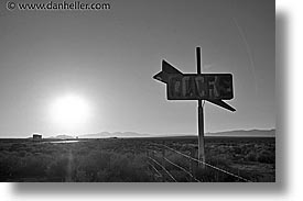 black and white, cafes, california, highways, horizontal, signs, west coast, western usa, photograph