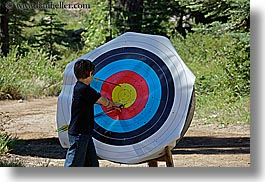 archery, arrows, boys, california, from, horizontal, kings canyon, pulling, target, west coast, western usa, photograph