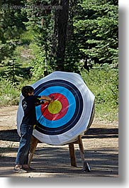 archery, arrows, boys, california, from, kings canyon, pulling, target, vertical, west coast, western usa, photograph