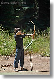 archery, arrows, bow, boys, california, kings canyon, vertical, west coast, western usa, photograph
