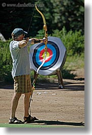 archery, arrows, baseball cap, bow, california, clothes, hats, kings canyon, men, target, vertical, west coast, western usa, photograph