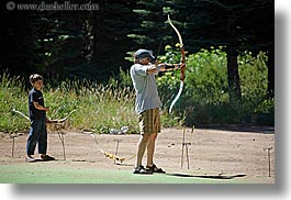 archery, arrows, baseball cap, bow, california, clothes, hats, horizontal, kings canyon, men, west coast, western usa, photograph