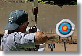 archery, arrows, baseball cap, bow, california, clothes, hats, horizontal, kings canyon, men, target, west coast, western usa, photograph