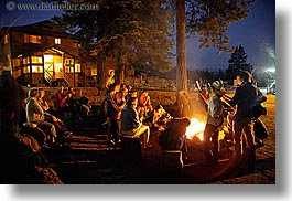 california, campfire, fire, groups, horizontal, kings canyon, nite, people, slow exposure, west coast, western usa, photograph