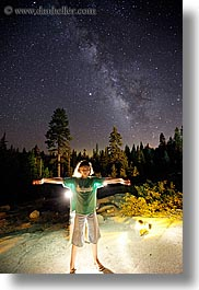 california, flashlight painting, galaxy, kings canyon, light streaks, long exposure, melanie, milky way, nite, stars, vertical, west coast, western usa, photograph