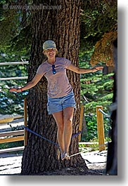 activities, baseball cap, california, clothes, hats, jills, kings canyon, people, tightrope, vertical, walk, walking, west coast, western usa, womens, photograph