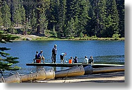 beaches, california, canoes, childrens, dock, horizontal, kings canyon, lakes, west coast, western usa, photograph