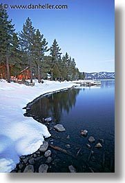 california, dawn, houses, lake tahoe, lakes, long exposure, snow, vertical, west coast, western usa, photograph