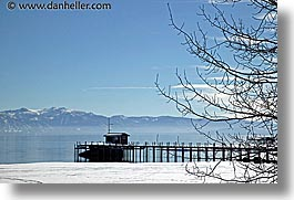 california, dock, horizontal, lake tahoe, mountains, scenics, snow, trees, west coast, western usa, photograph