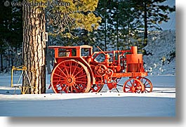 california, horizontal, lake tahoe, oranges, scenics, tractor, west coast, western usa, photograph