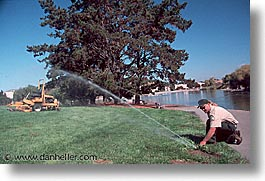 california, civic center, grounds, horizontal, marin, marin county, north bay, northern california, san francisco bay area, watering, west coast, western usa, photograph