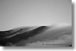 black and white, california, fog, horizontal, marin, marin county, north bay, northern california, rolling, san francisco bay area, west coast, western usa, photograph