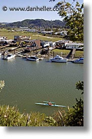 california, corte, corte madera creek, creek, greenbrae, house boats, kayakers, kayaks, madera, marin, marin county, north bay, northern california, san francisco bay area, vertical, water, west coast, western usa, photograph