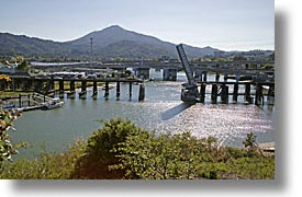 bridge, california, corte madera creek, greenbrae, horizontal, marin, marin county, mount tamalpais, north bay, northern california, rivers, san francisco bay area, west coast, western usa, photograph
