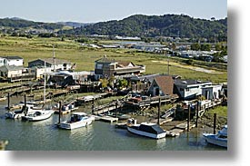 california, greenbrae, hills, horizontal, house boats, houseboats, marin, marin county, north bay, northern california, san francisco bay area, water, west coast, western usa, photograph