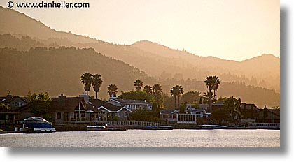 boats, california, greenbrae, hills, horizontal, kent, kent woodlands, kentfield, marin, marin county, north bay, northern california, panoramic, rivers, san francisco bay area, sunsets, water, west coast, western usa, woodlands, photograph