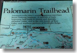 california, horizontal, marin, marin county, north bay, northern california, palomarin, palomarin trail, signs, trailhead, west coast, western usa, photograph