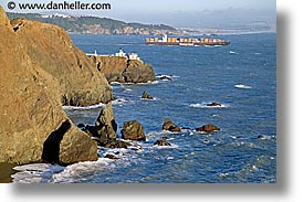 california, coastline, hapag, horizontal, lighthouses, lloyds, marin, marin county, north bay, northern california, pacific ocean, point bonita, san francisco bay area, scenics, tanker, water, west coast, western usa, photograph