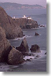 california, coastline, lighthouses, marin, marin county, north bay, northern california, pacific ocean, point bonita, rocks, san francisco bay area, scenics, vertical, water, west coast, western usa, photograph